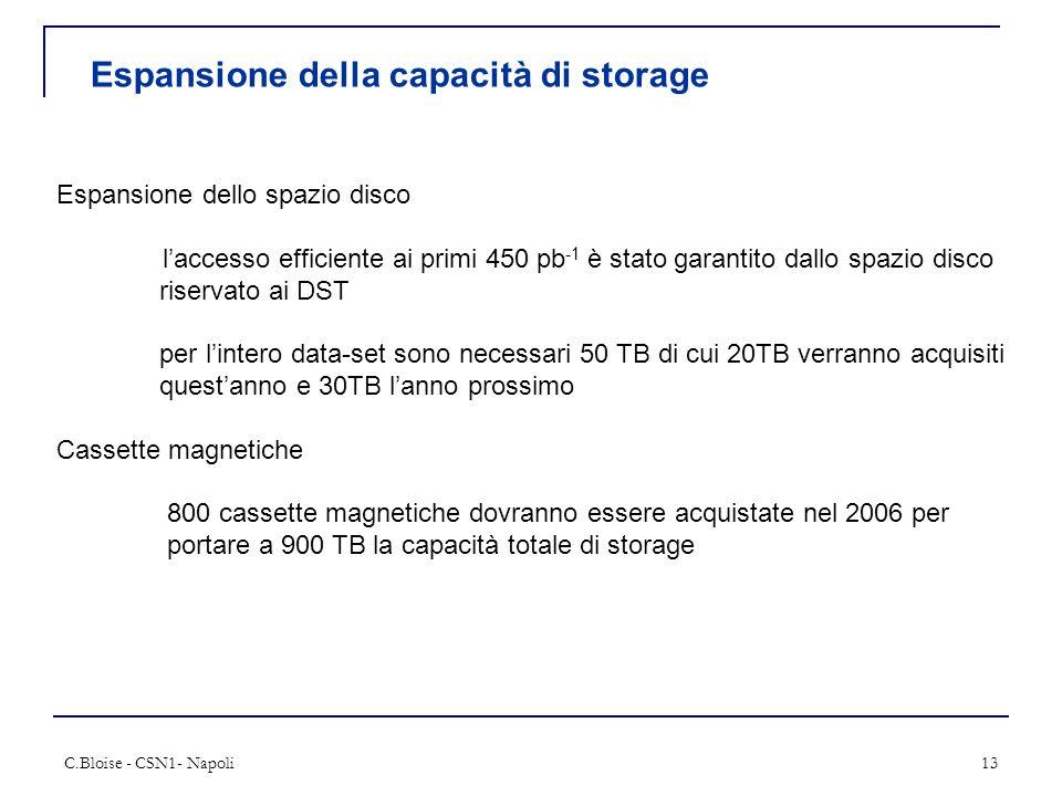 C.Bloise - CSN1- Napoli13 Espansione della capacità di storage Espansione dello spazio disco l'accesso efficiente ai primi 450 pb -1 è stato garantito