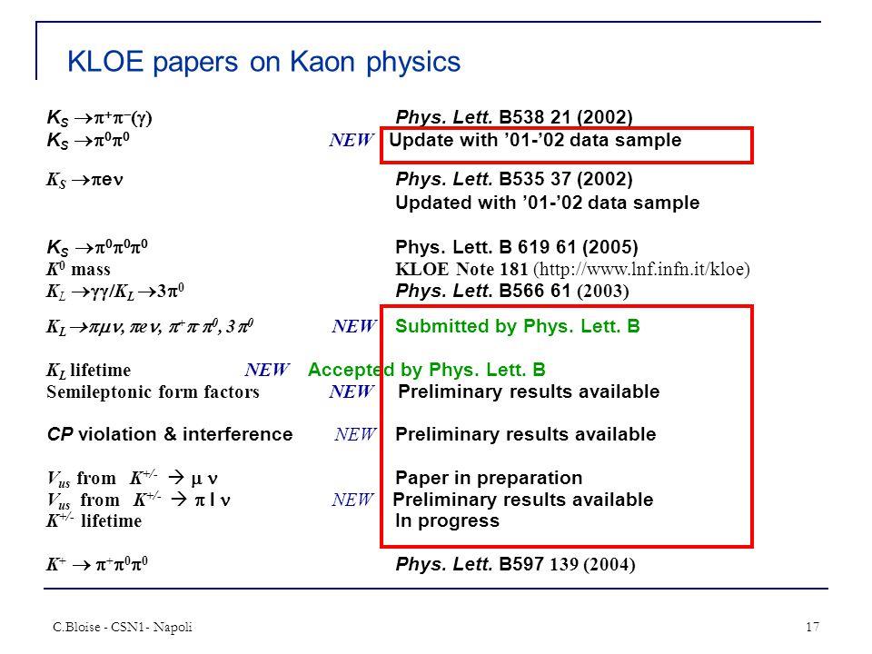 C.Bloise - CSN1- Napoli17 K S      Phys. Lett. B538 21 (2002) K S     NEW Update with '01-'02 data sample K S   e 