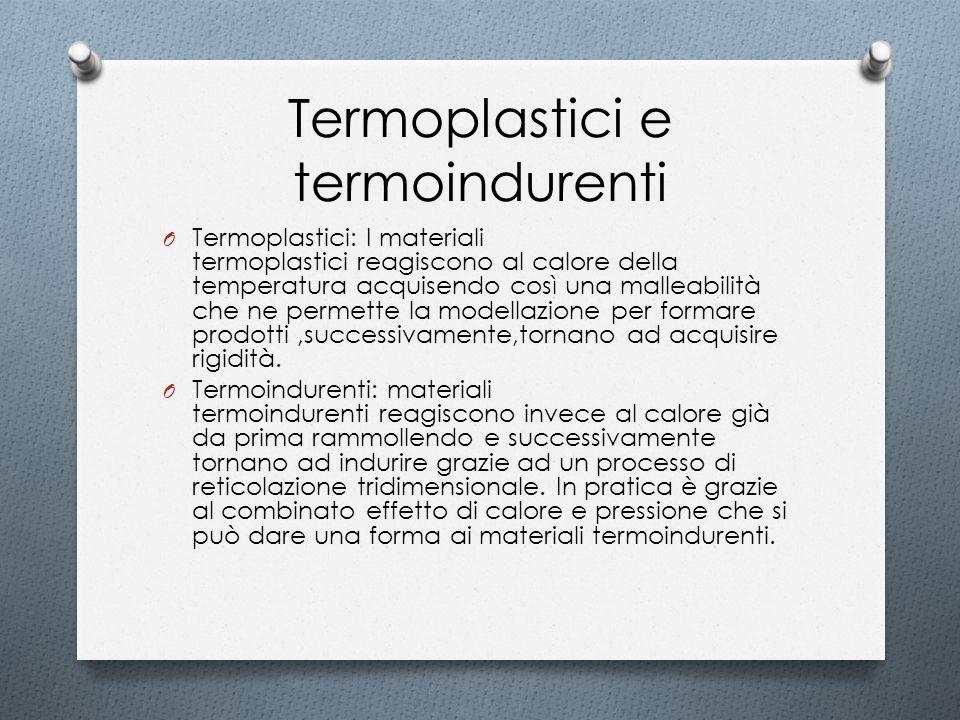 Termoplastici e termoindurenti O Termoplastici: I materiali termoplastici reagiscono al calore della temperatura acquisendo così una malleabilità che