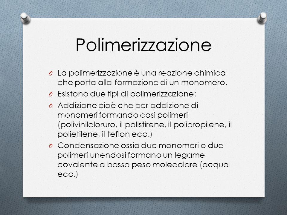 Polimerizzazione O La polimerizzazione è una reazione chimica che porta alla formazione di un monomero. O Esistono due tipi di polimerizzazione: O Add