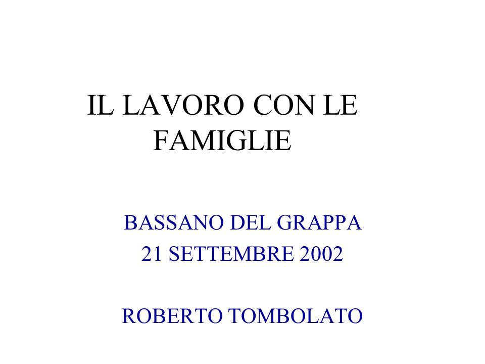 IL LAVORO CON LE FAMIGLIE BASSANO DEL GRAPPA 21 SETTEMBRE 2002 ROBERTO TOMBOLATO