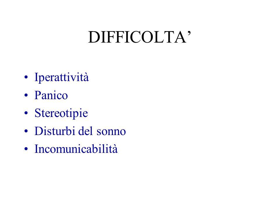 DIFFICOLTA' Iperattività Panico Stereotipie Disturbi del sonno Incomunicabilità