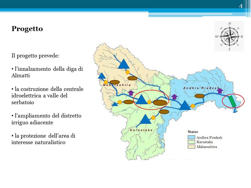 Progetto 4 Il progetto prevede: l'innalzamento della diga di Almatti la costruzione della centrale idroelettrica a valle del serbatoio l'ampliamento del distretto irriguo adiacente la protezione dell'area di interesse naturalistico