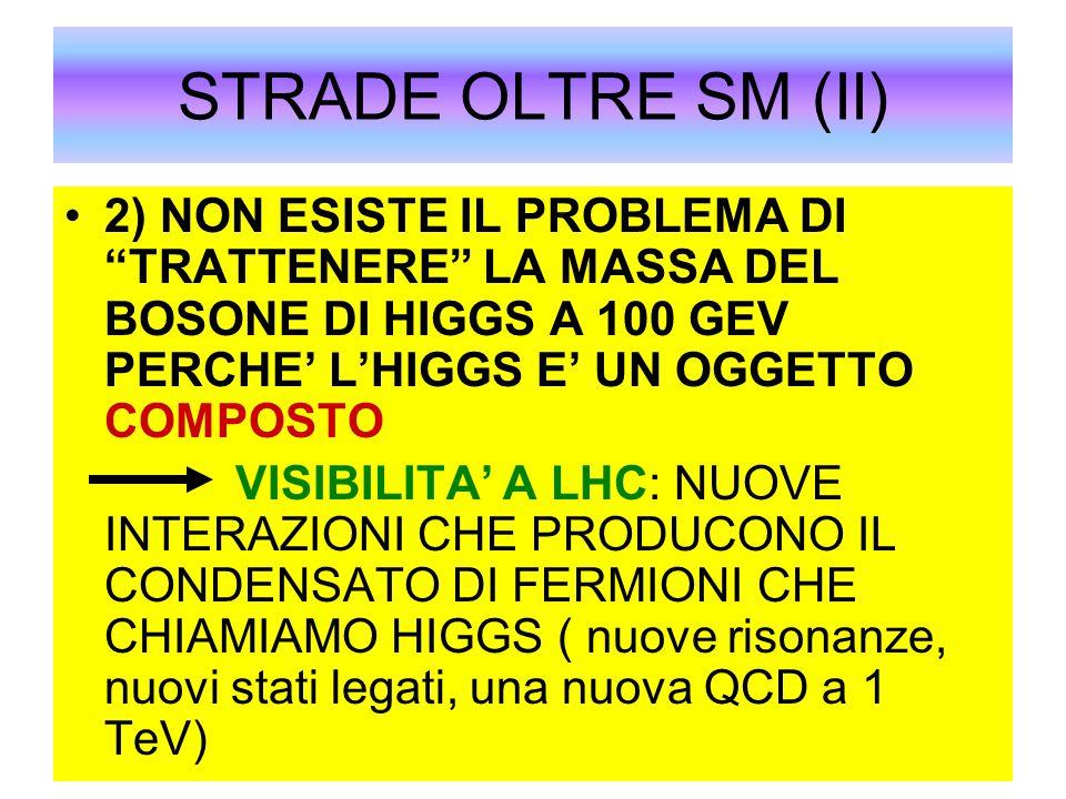 """STRADE OLTRE SM (II) 2) NON ESISTE IL PROBLEMA DI """"TRATTENERE"""" LA MASSA DEL BOSONE DI HIGGS A 100 GEV PERCHE' L'HIGGS E' UN OGGETTO COMPOSTO VISIBILIT"""