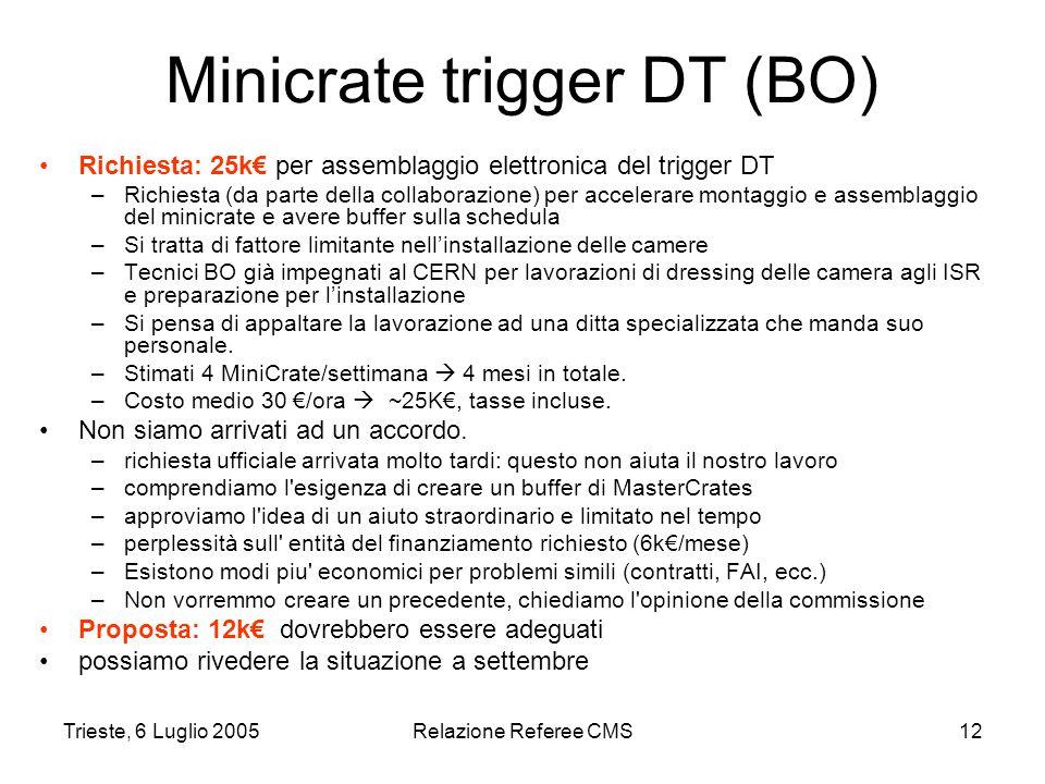 Trieste, 6 Luglio 2005Relazione Referee CMS12 Minicrate trigger DT (BO) Richiesta: 25k€ per assemblaggio elettronica del trigger DT –Richiesta (da parte della collaborazione) per accelerare montaggio e assemblaggio del minicrate e avere buffer sulla schedula –Si tratta di fattore limitante nell'installazione delle camere –Tecnici BO già impegnati al CERN per lavorazioni di dressing delle camera agli ISR e preparazione per l'installazione –Si pensa di appaltare la lavorazione ad una ditta specializzata che manda suo personale.