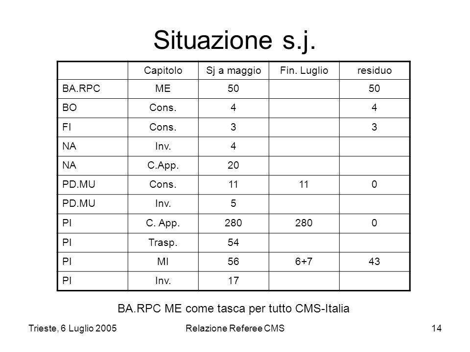 Trieste, 6 Luglio 2005Relazione Referee CMS14 Situazione s.j.
