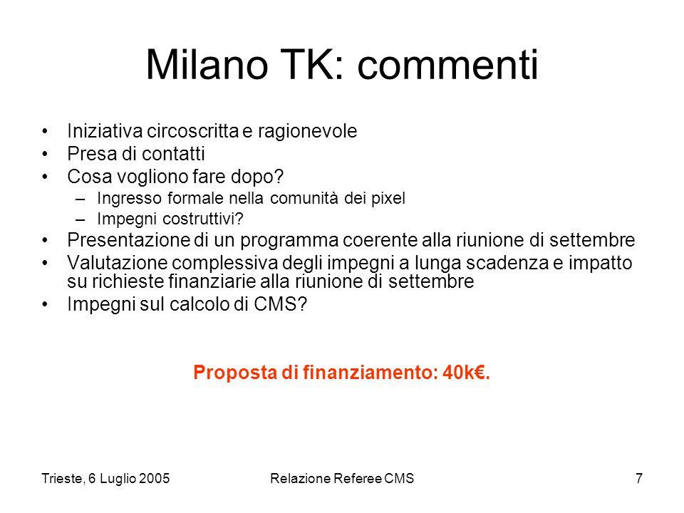 Trieste, 6 Luglio 2005Relazione Referee CMS7 Milano TK: commenti Iniziativa circoscritta e ragionevole Presa di contatti Cosa vogliono fare dopo.