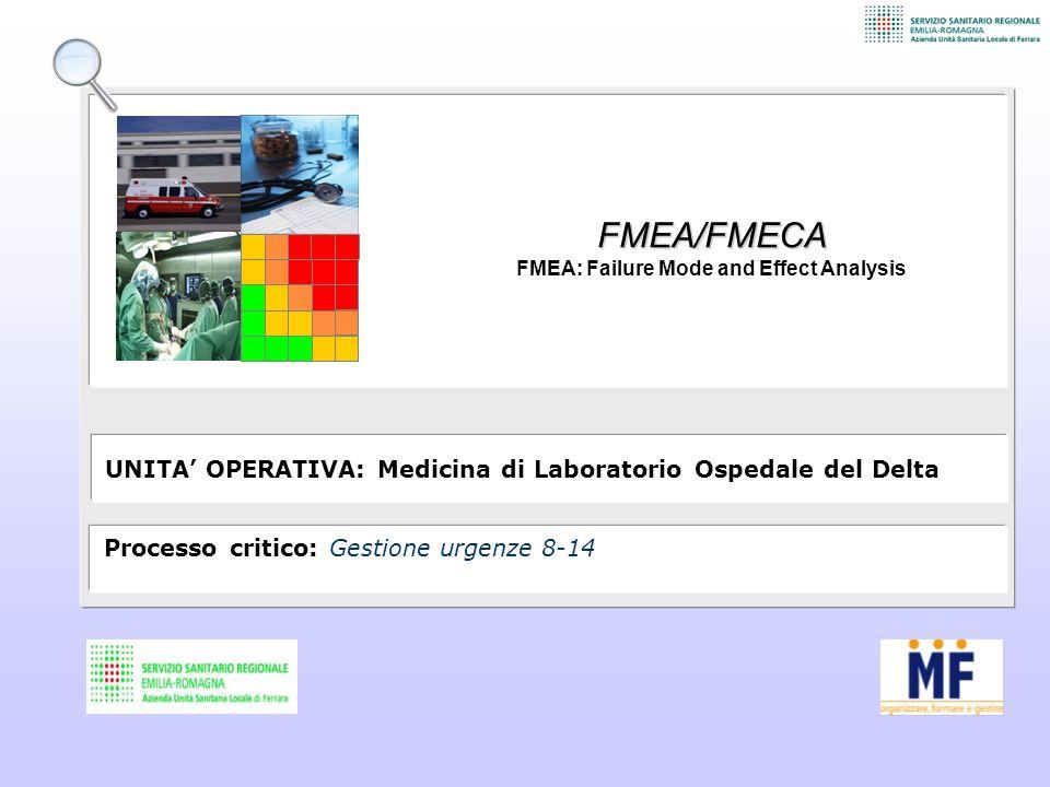FMEA/FMECA FMEA: Failure Mode and Effect Analysis UNITA' OPERATIVA: Medicina di Laboratorio Ospedale del Delta Processo critico: Gestione urgenze 8-14