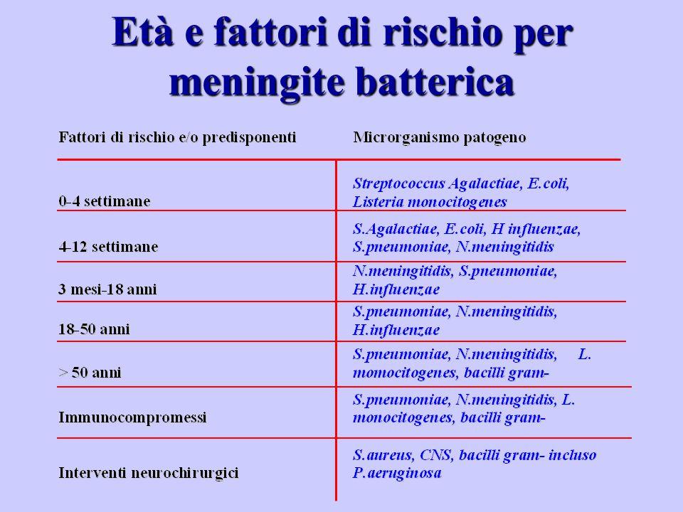 Età e fattori di rischio per meningite batterica