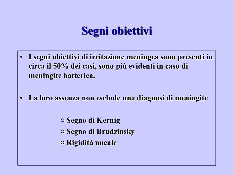 Segni obiettivi I segni obiettivi di irritazione meningea sono presenti in circa il 50% dei casi, sono più evidenti in caso di meningite batterica.I s