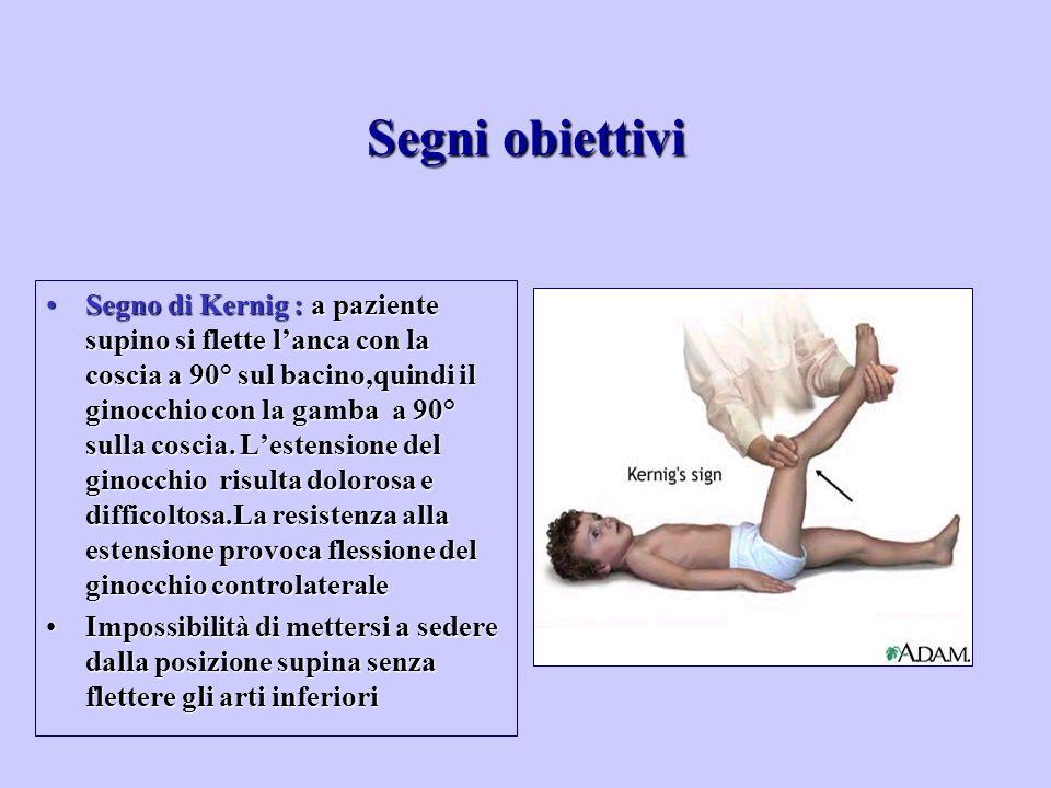 Segno di Kernig : a paziente supino si flette l'anca con la coscia a 90° sul bacino,quindi il ginocchio con la gamba a 90° sulla coscia. L'estensione