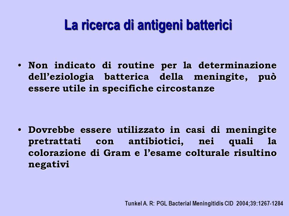 Non indicato di routine per la determinazione dell'eziologia batterica della meningite, può essere utile in specifiche circostanze Non indicato di rou