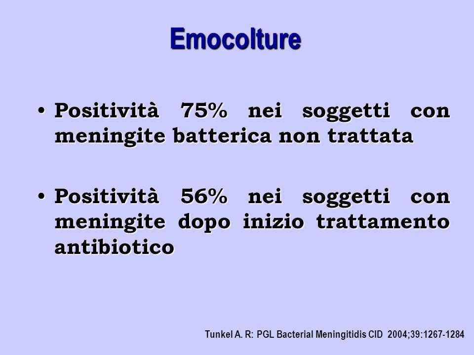 Positività 75% nei soggetti con meningite batterica non trattata Positività 75% nei soggetti con meningite batterica non trattata Positività 56% nei s