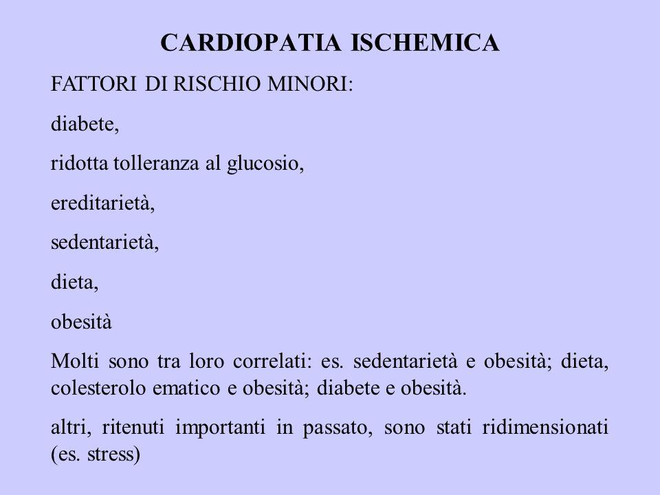 CARDIOPATIA ISCHEMICA PROFILASSI Prevenzione primaria (in coloro che non hanno ancora la malattia): 1.ridurre il livello di colesterolemia a meno di 180 mg/dl (agire su apporto dietetico) 2.liminare il fumo di sigaretta 3.aumentare l'attività fisica 4.controllo del peso corporeo, terapia dell'obesità 5.controllo della pressione arteriosa.