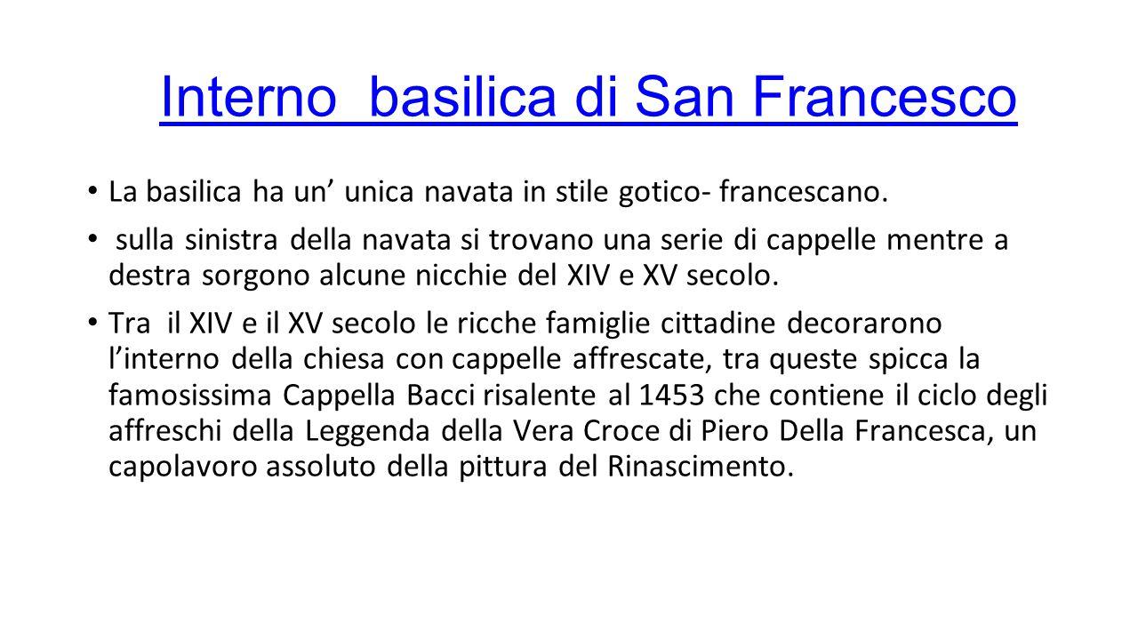 Storia cappella Bacci Presumibilmente, come afferma il Longhi, gli affreschi furono commissionati a Piero della Francesca dalla famiglia Bacci per sostituire il defunto Bicci di Lorenzo, morto nel 1452 lasciando incompiuta la sua opera, nella decorazione della cappella di San Francesco ad Arezzo.