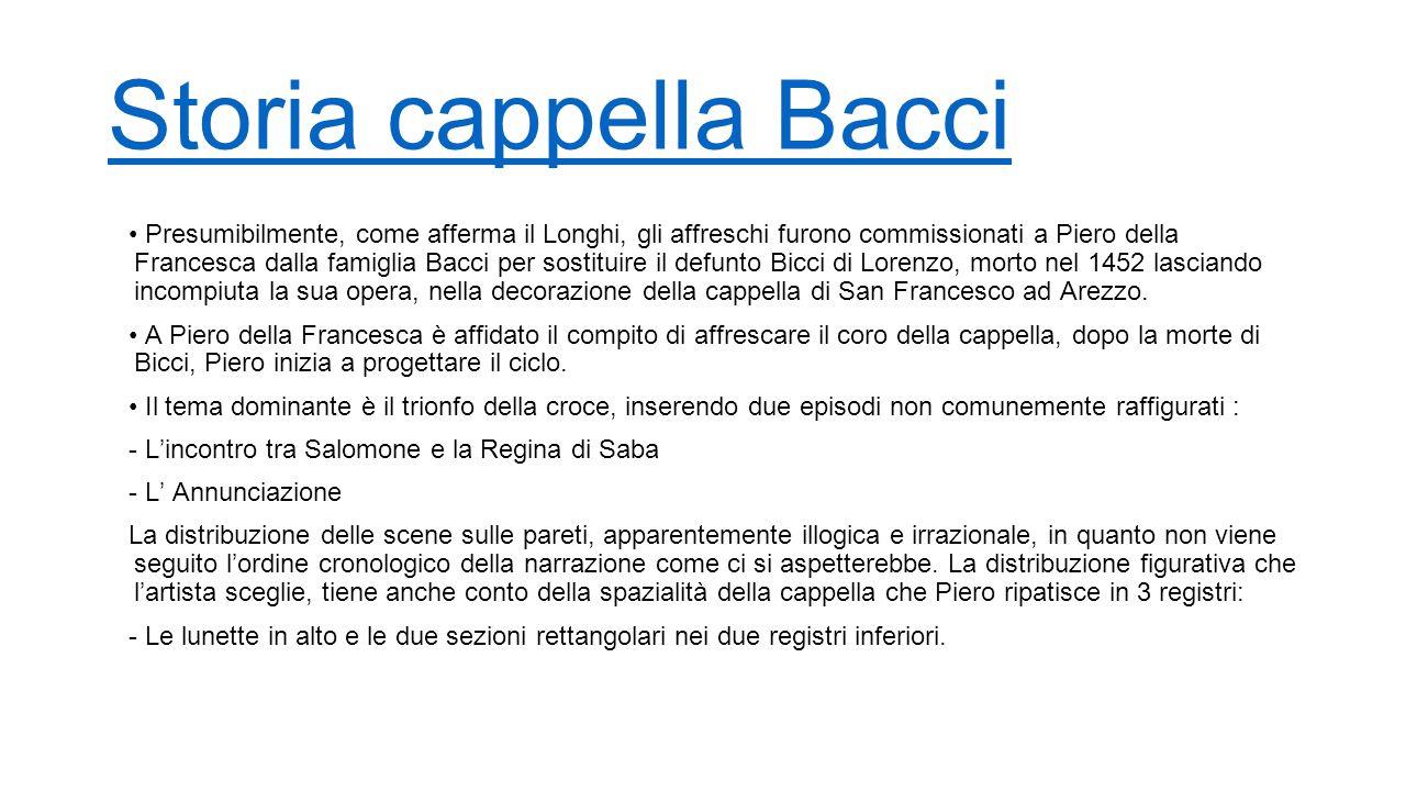 Storia cappella Bacci Presumibilmente, come afferma il Longhi, gli affreschi furono commissionati a Piero della Francesca dalla famiglia Bacci per sos