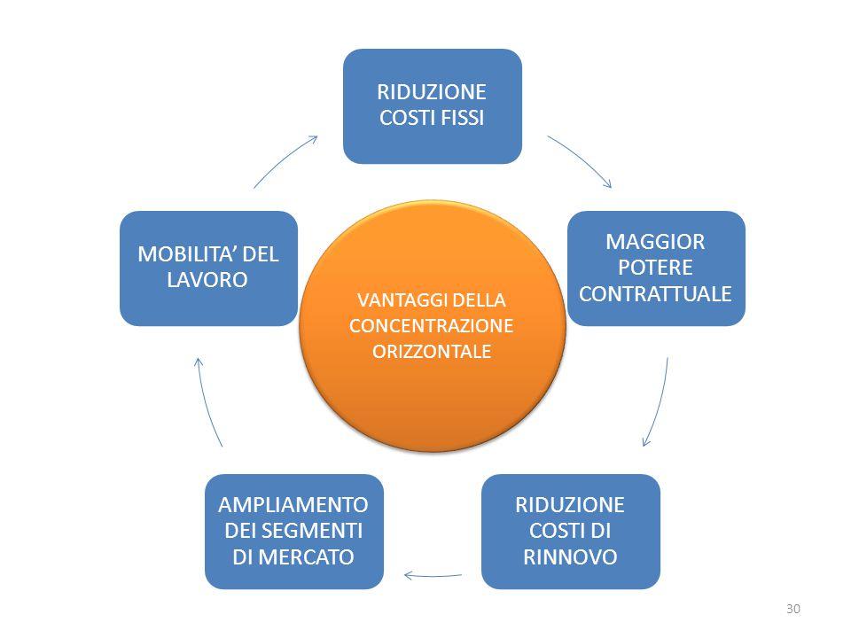 RIDUZIONE COSTI FISSI MAGGIOR POTERE CONTRATTUALE RIDUZIONE COSTI DI RINNOVO AMPLIAMENTO DEI SEGMENTI DI MERCATO MOBILITA' DEL LAVORO VANTAGGI DELLA CONCENTRAZIONE ORIZZONTALE 30