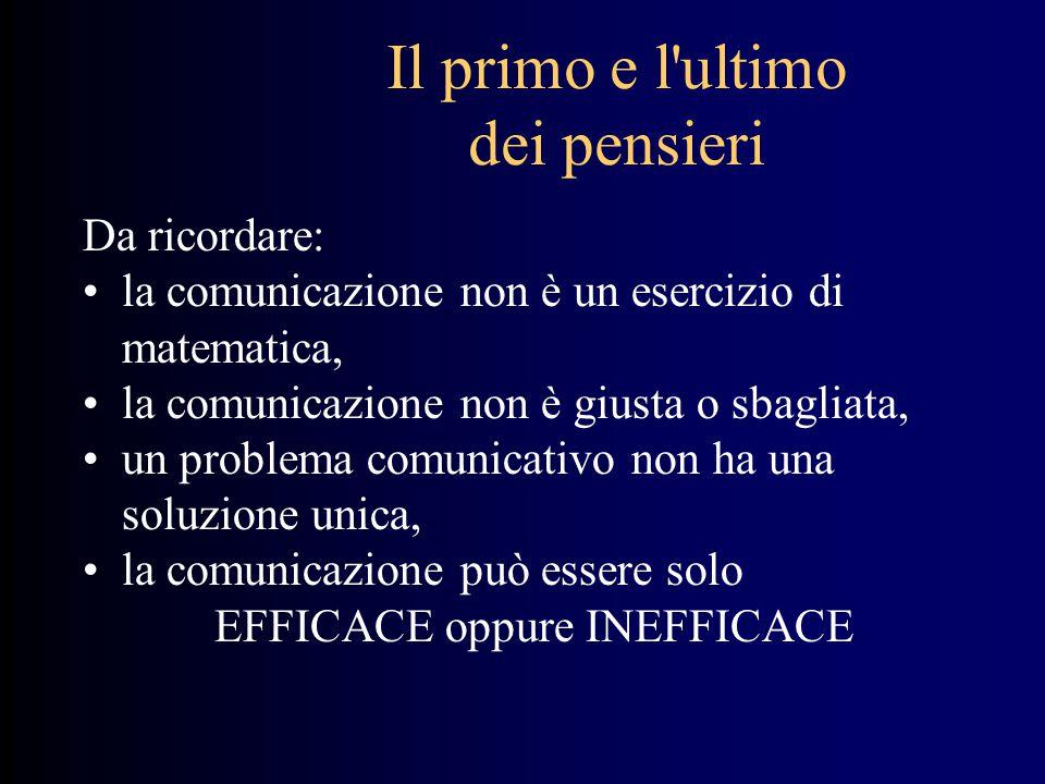 Il primo e l'ultimo dei pensieri Da ricordare: la comunicazione non è un esercizio di matematica, la comunicazione non è giusta o sbagliata, un proble