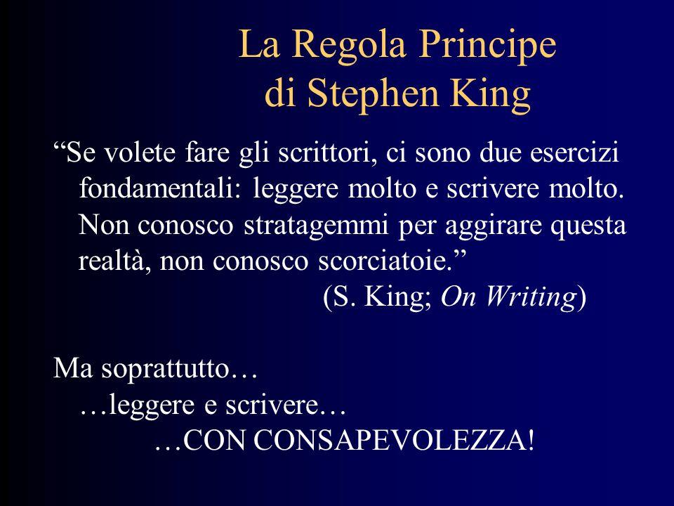 """La Regola Principe di Stephen King """"Se volete fare gli scrittori, ci sono due esercizi fondamentali: leggere molto e scrivere molto. Non conosco strat"""