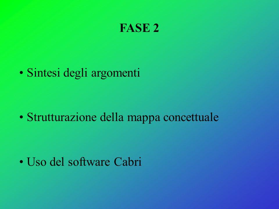 FASE 2 Sintesi degli argomenti Strutturazione della mappa concettuale Uso del software Cabri
