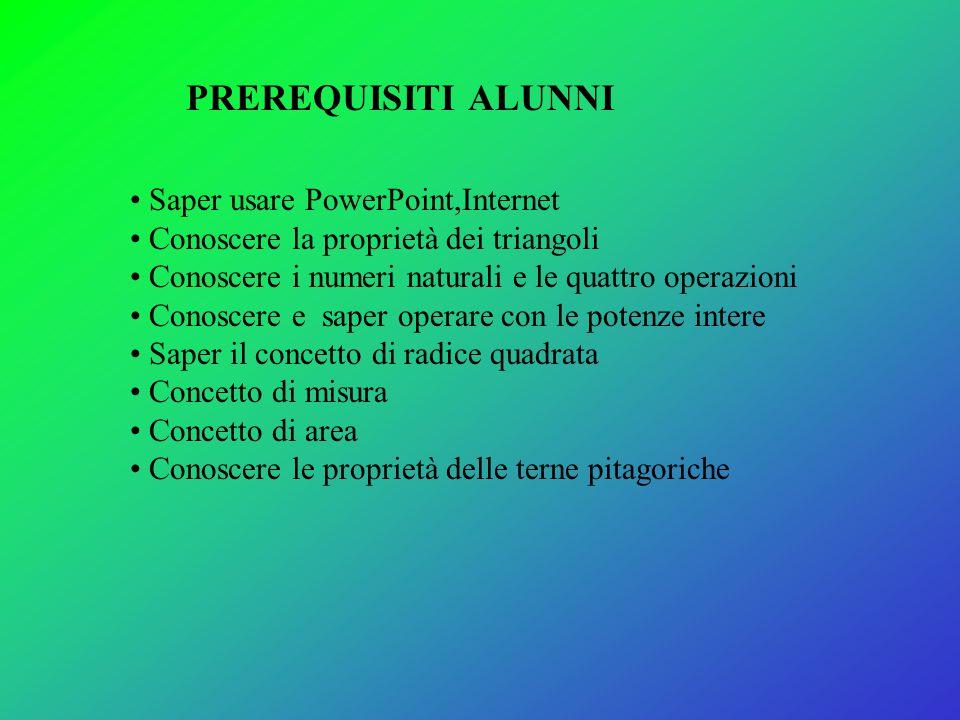 Saper usare PowerPoint,Internet Conoscere la proprietà dei triangoli Conoscere i numeri naturali e le quattro operazioni Conoscere e saper operare con