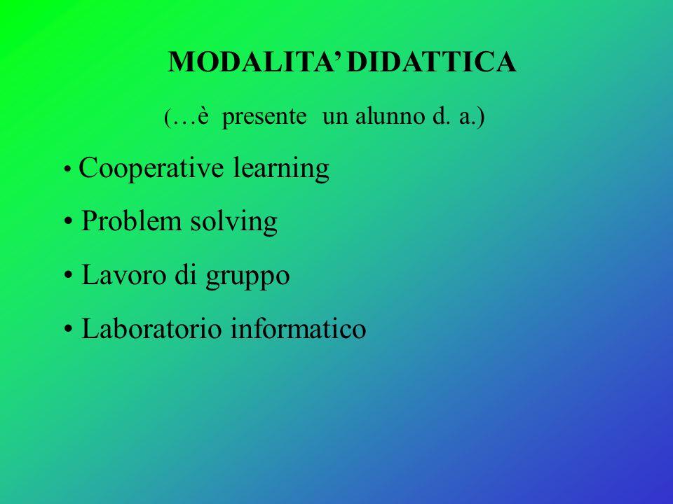 MODALITA' DIDATTICA ( …è presente un alunno d. a.) Cooperative learning Problem solving Lavoro di gruppo Laboratorio informatico