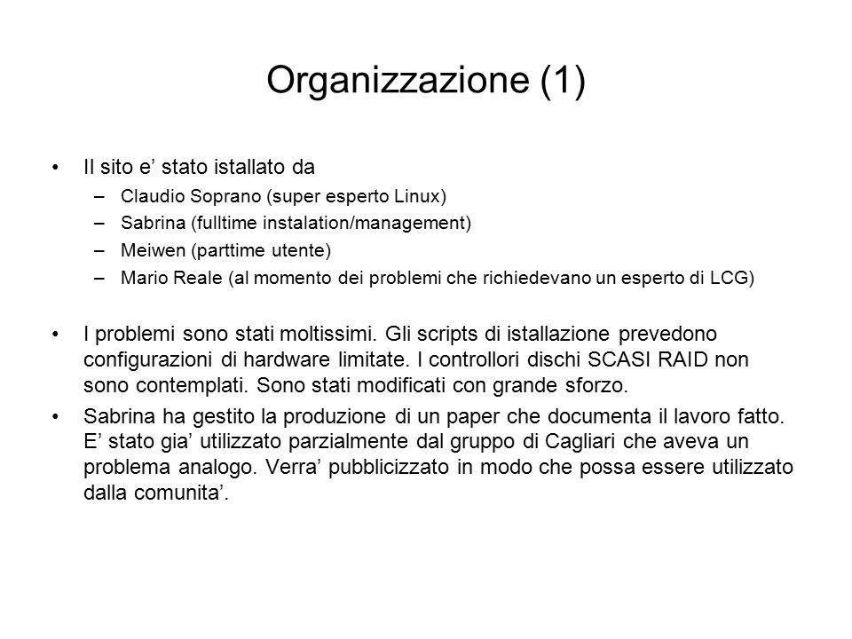 Organizzazione (1) Il sito e' stato istallato da –Claudio Soprano (super esperto Linux) –Sabrina (fulltime instalation/management) –Meiwen (parttime utente) –Mario Reale (al momento dei problemi che richiedevano un esperto di LCG) I problemi sono stati moltissimi.