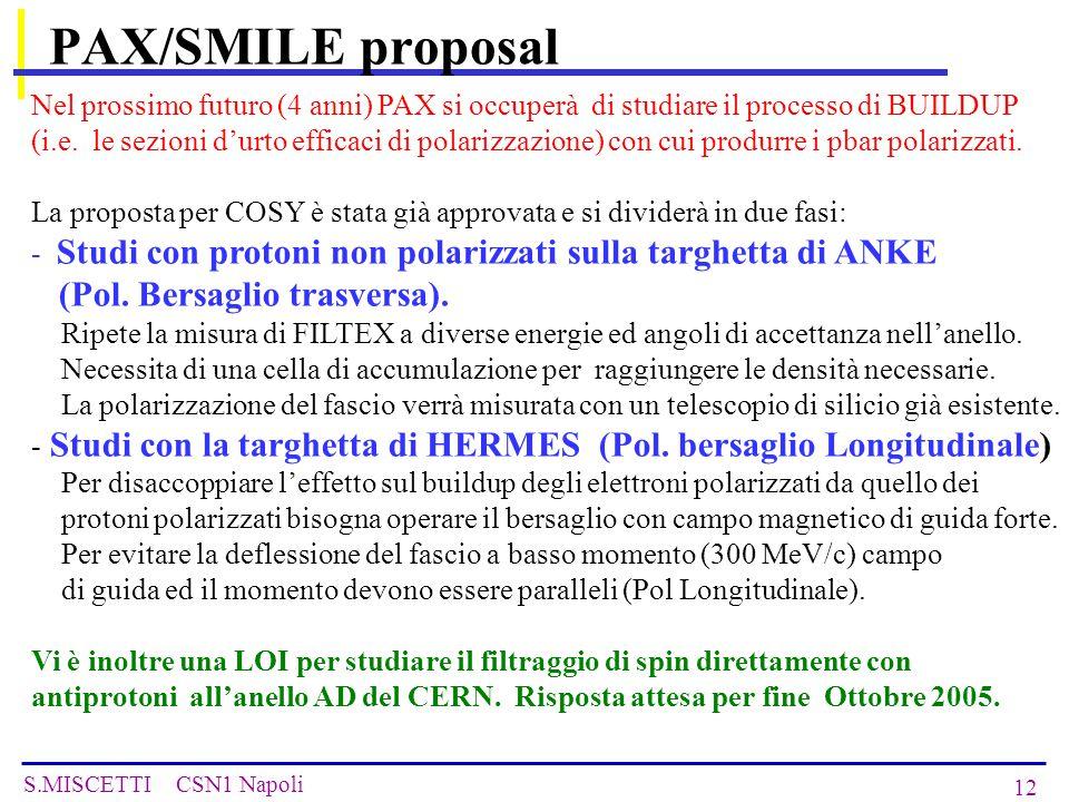 S.MISCETTI CSN1 Napoli 12 PAX/SMILE proposal Nel prossimo futuro (4 anni) PAX si occuperà di studiare il processo di BUILDUP (i.e.