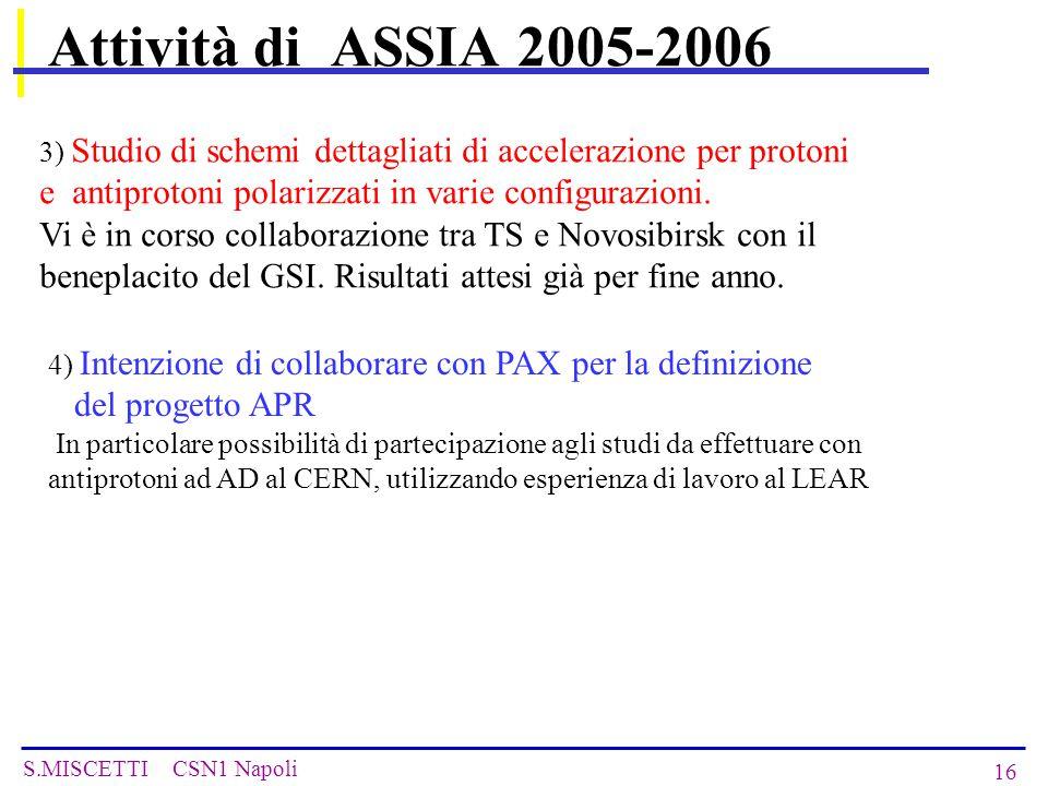 S.MISCETTI CSN1 Napoli 16 Attività di ASSIA 2005-2006 3) Studio di schemi dettagliati di accelerazione per protoni e antiprotoni polarizzati in varie configurazioni.