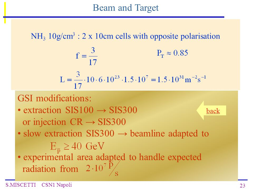 S.MISCETTI CSN1 Napoli 23 Beam and Target NH 3 10g/cm 3 : 2 x 10cm cells with opposite polarisation GSI modifications: extraction SIS100 → SIS300 or injection CR → SIS300 slow extraction SIS300 → beamline adapted to experimental area adapted to handle expected radiation from back