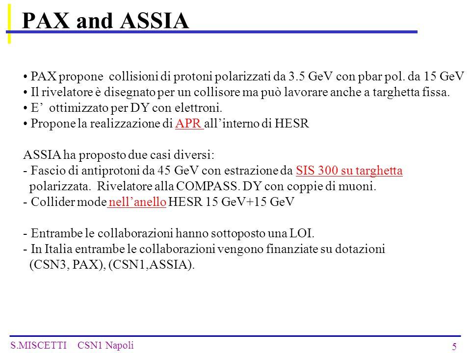 S.MISCETTI CSN1 Napoli 6 Altre misure di fisica rilevanti … Questi esperimenti propongono altre misure che possono avere una buona rilevanza e che possono essere effettuate anche senza polarizzazione degli antiprotoni.
