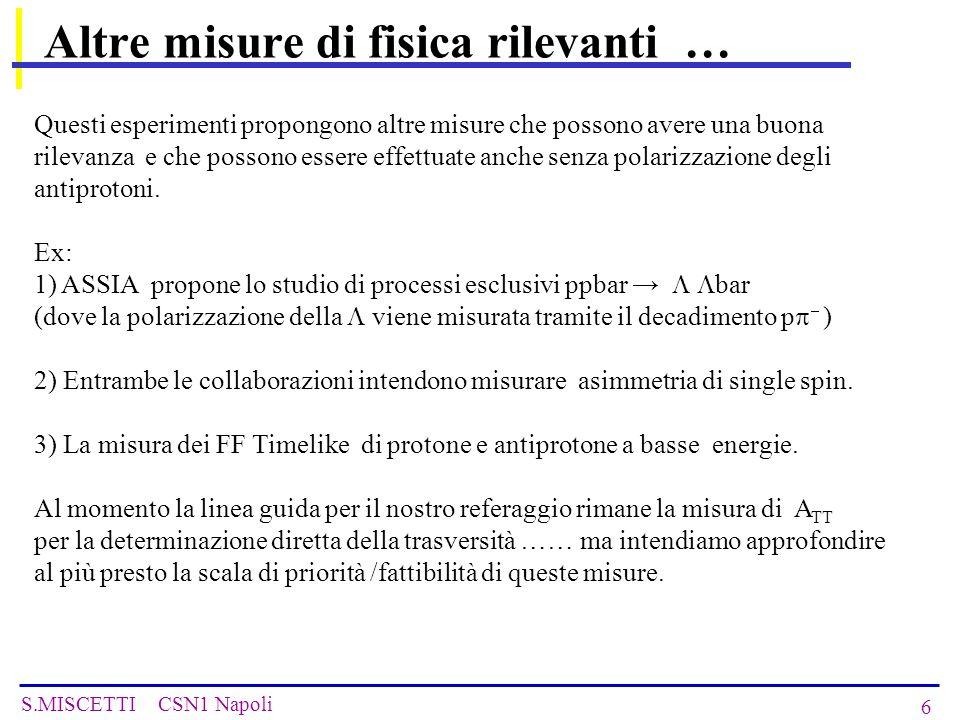 S.MISCETTI CSN1 Napoli 27 Production of polarized antiprotons I Polarized Atomic Beam Source m j = +1/2 m j = -1/2 m i =-1/2 m i =+1/2 1  1>  2>  3>  4> ee-ee-p  1>