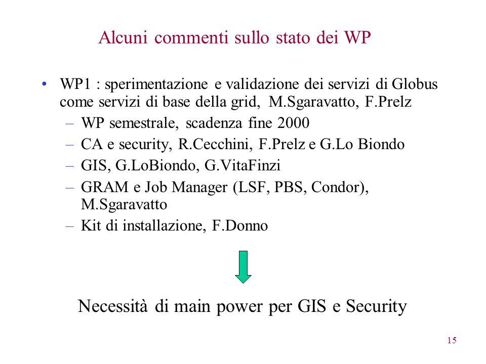 15 Alcuni commenti sullo stato dei WP WP1 : sperimentazione e validazione dei servizi di Globus come servizi di base della grid, M.Sgaravatto, F.Prelz –WP semestrale, scadenza fine 2000 –CA e security, R.Cecchini, F.Prelz e G.Lo Biondo –GIS, G.LoBiondo, G.VitaFinzi –GRAM e Job Manager (LSF, PBS, Condor), M.Sgaravatto –Kit di installazione, F.Donno Necessità di main power per GIS e Security