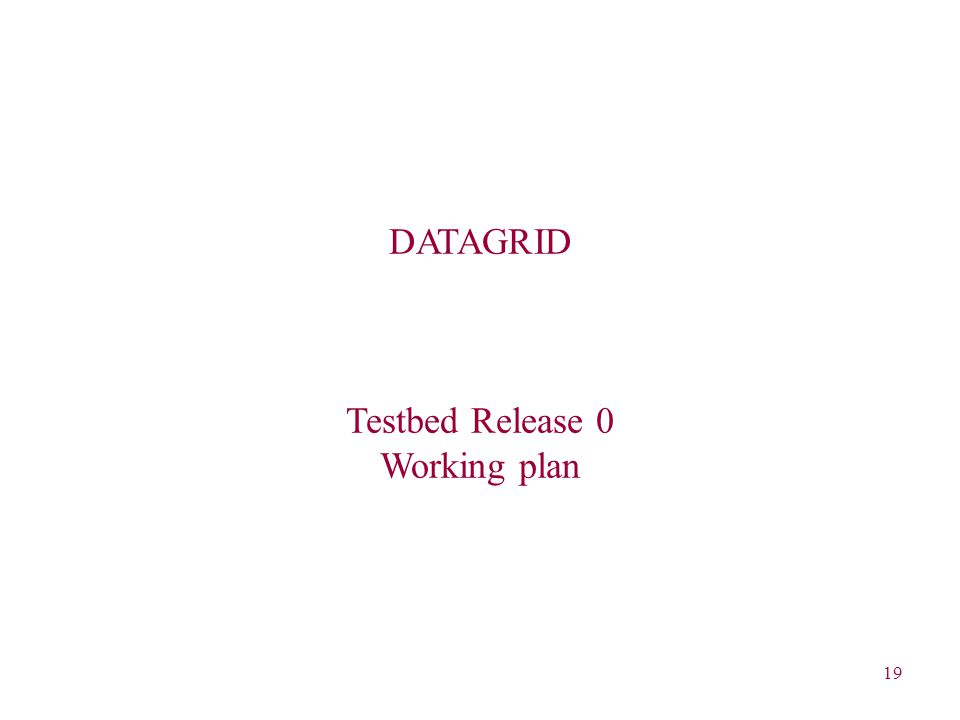 19 DATAGRID Testbed Release 0 Working plan