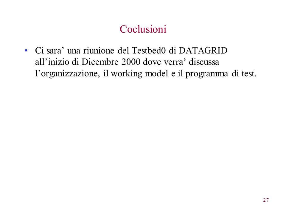 27 Coclusioni Ci sara' una riunione del Testbed0 di DATAGRID all'inizio di Dicembre 2000 dove verra' discussa l'organizzazione, il working model e il programma di test.