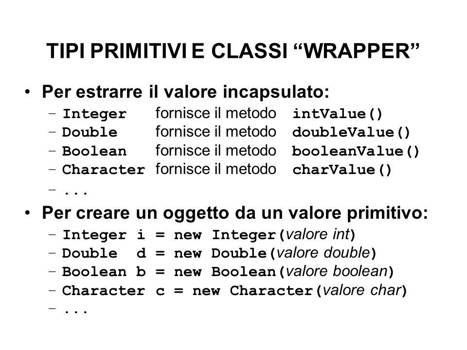 """TIPI PRIMITIVI E CLASSI """"WRAPPER"""" Per estrarre il valore incapsulato: –Integer fornisce il metodo intValue() –Double fornisce il metodo doubleValue()"""