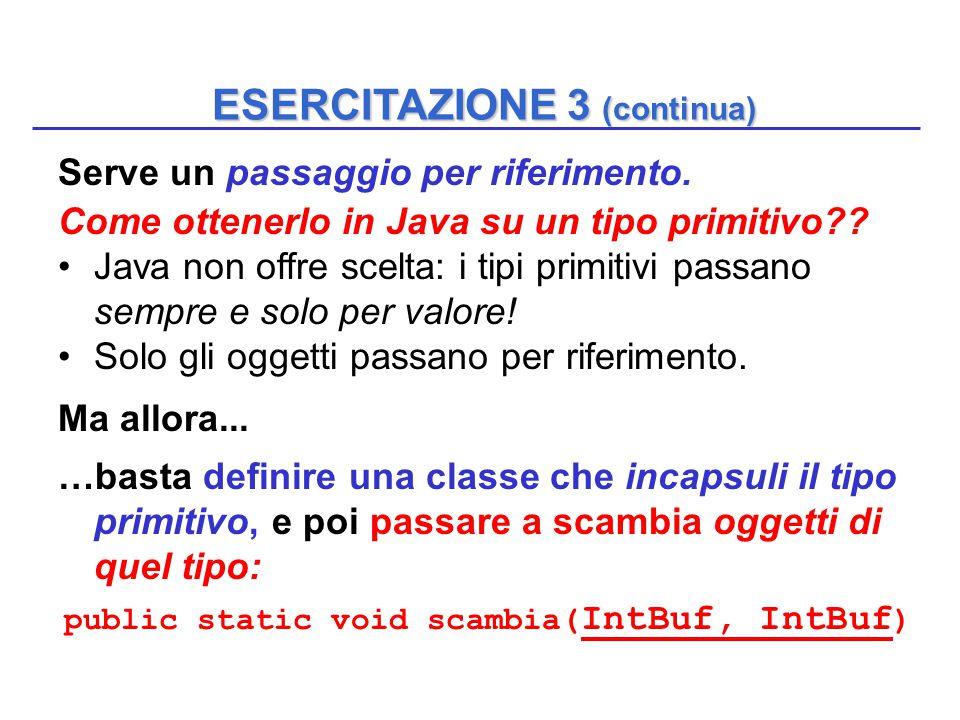 ESERCITAZIONE 3 (continua) Serve un passaggio per riferimento. Come ottenerlo in Java su un tipo primitivo?? Java non offre scelta: i tipi primitivi p