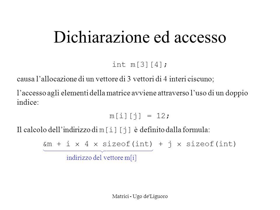 Matrici - Ugo de Liguoro Accesso in scrittura void Set(Smatrix m, int i, int j, T val) {Entry *q, *t, *p = m[i]; q = p; while ((p != NULL) && (p->col < j)) { q = p; p = p->next; } if ((p == NULL) || (p->col > j) { t = (Entry*) malloc (sizeof(Entry)); t->row = i; t->col = j; t->info = val; t->next = p; if ((m[i] == NULL) || (i == 1)) m[i] = t; else q->next = t; } else p->info = val; }