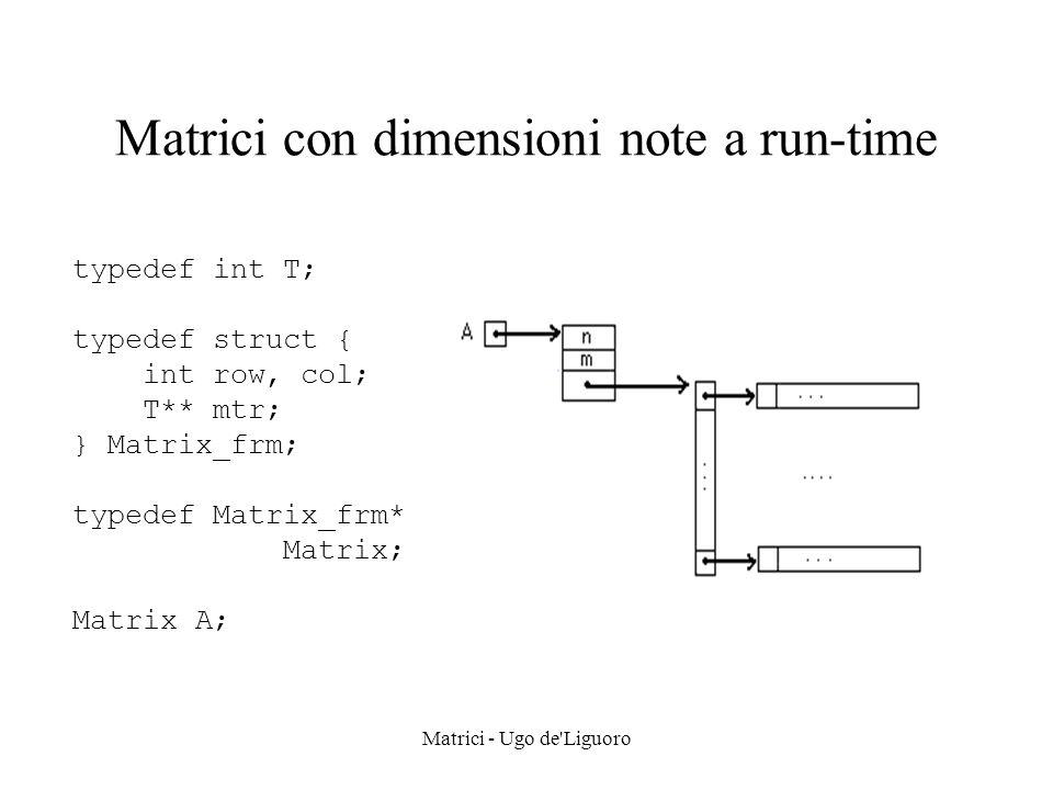 Matrici - Ugo de Liguoro Allocazione di una matrice Matrix MtrCreate(int r, int c, T init) /* genera una matrice r * c, ne inizializza le entrate a init, quindi ritorna il puntatore alla struttura */ { Matrix A; int i, j; A = (Matrix) malloc(sizeof(Matrix_frm)); A->row = r; A->col = c; A->mtr = (T**) malloc(r * sizeof(T*)); for (i = 0; i < r; i++) A->mtr[i] = (T*) malloc(c * sizeof(T)); for (i = 0; i < r; i++) for (j = 0; j < c; j++) A->mtr[i][j] = init; return A; }