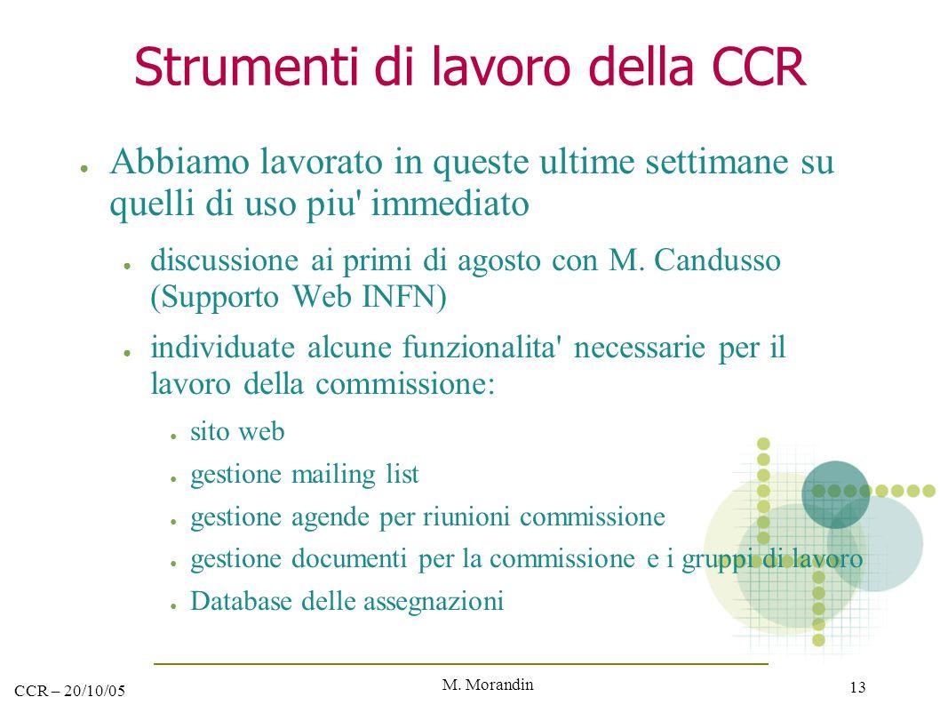 M. Morandin 13 CCR – 20/10/05 Strumenti di lavoro della CCR ● Abbiamo lavorato in queste ultime settimane su quelli di uso piu' immediato ● discussion