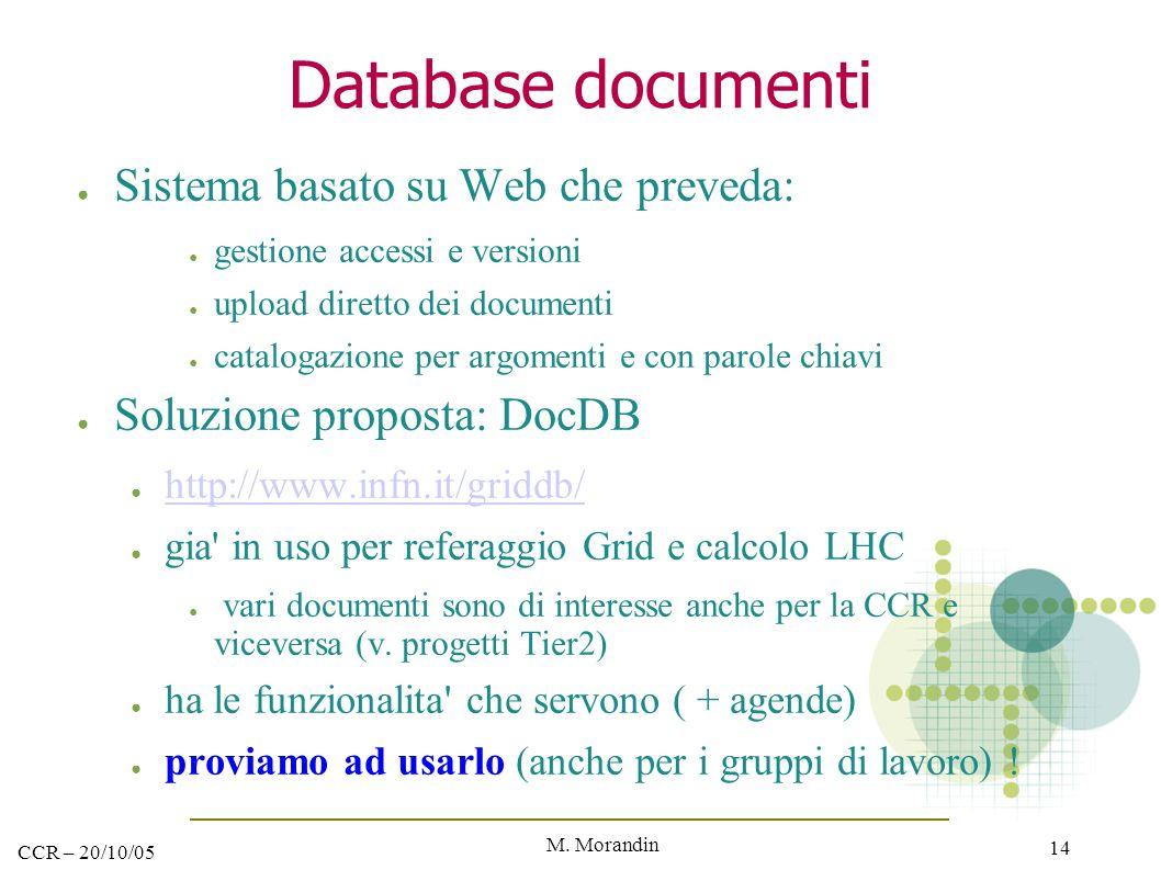 M. Morandin 14 CCR – 20/10/05 Database documenti ● Sistema basato su Web che preveda: ● gestione accessi e versioni ● upload diretto dei documenti ● c
