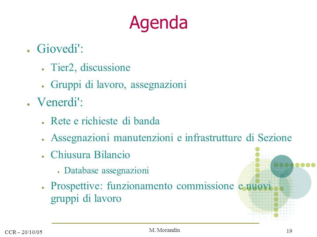 M. Morandin 19 CCR – 20/10/05 Agenda ● Giovedi': ● Tier2, discussione ● Gruppi di lavoro, assegnazioni ● Venerdi': ● Rete e richieste di banda ● Asseg