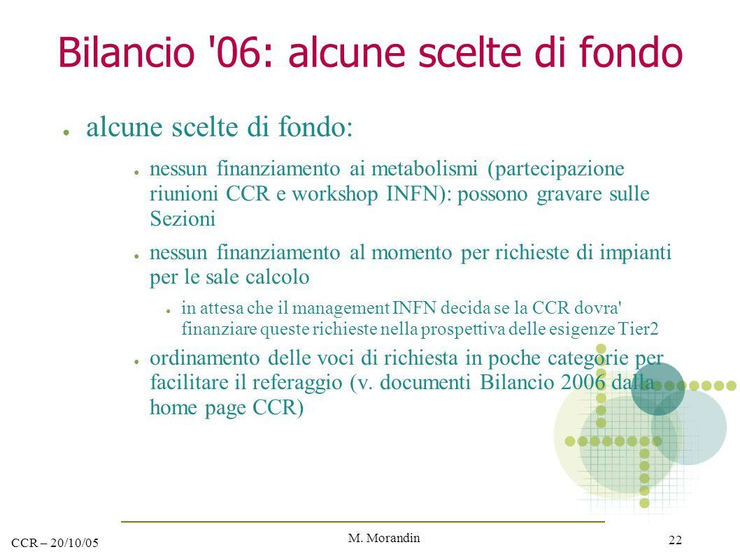 M. Morandin 22 CCR – 20/10/05 Bilancio '06: alcune scelte di fondo ● alcune scelte di fondo: ● nessun finanziamento ai metabolismi (partecipazione riu