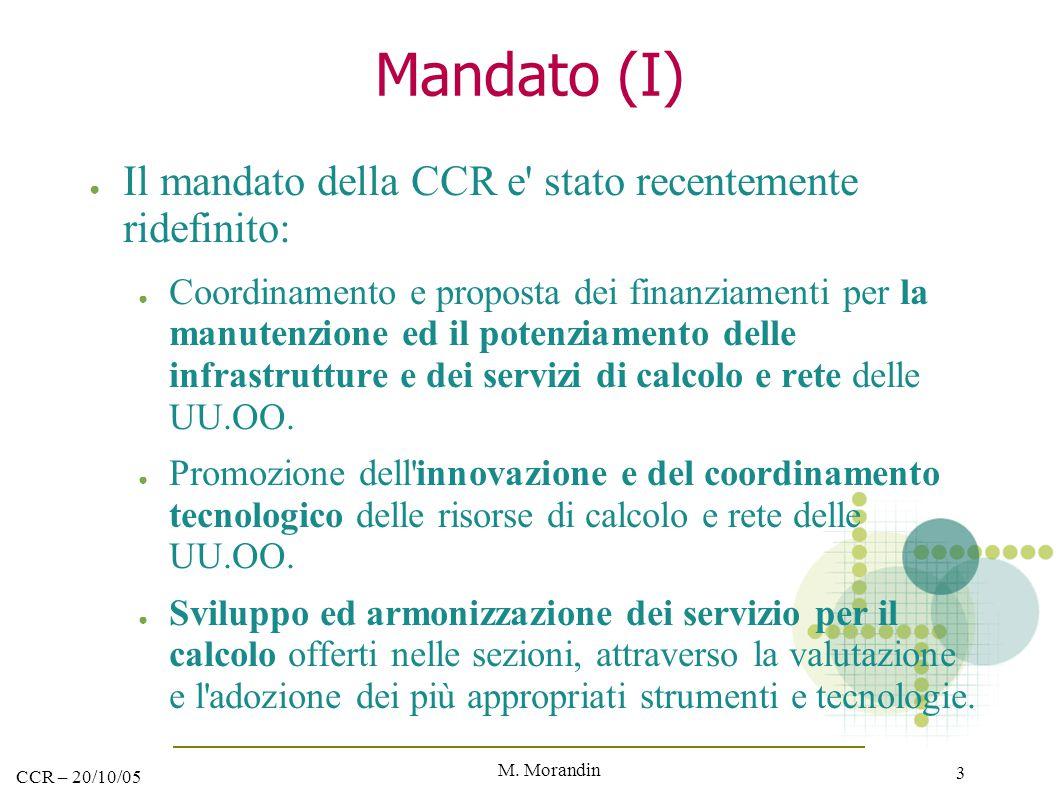 M. Morandin 3 CCR – 20/10/05 Mandato (I) ● Il mandato della CCR e' stato recentemente ridefinito: ● Coordinamento e proposta dei finanziamenti per la