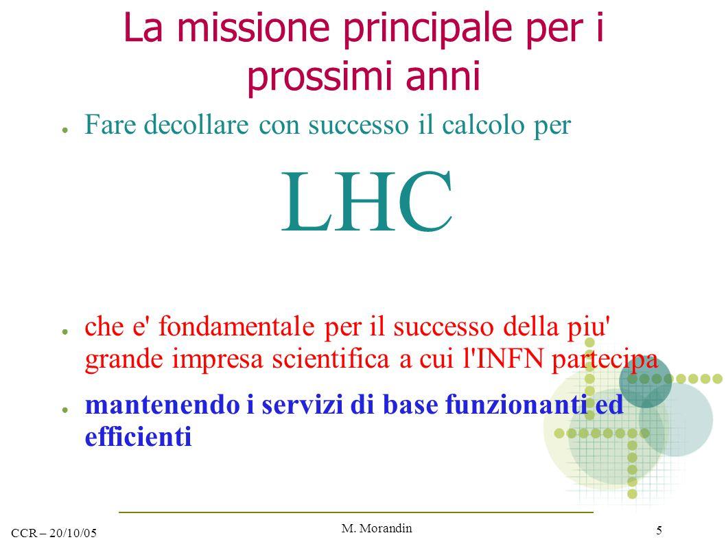 M. Morandin 5 CCR – 20/10/05 La missione principale per i prossimi anni ● Fare decollare con successo il calcolo per LHC ● che e' fondamentale per il