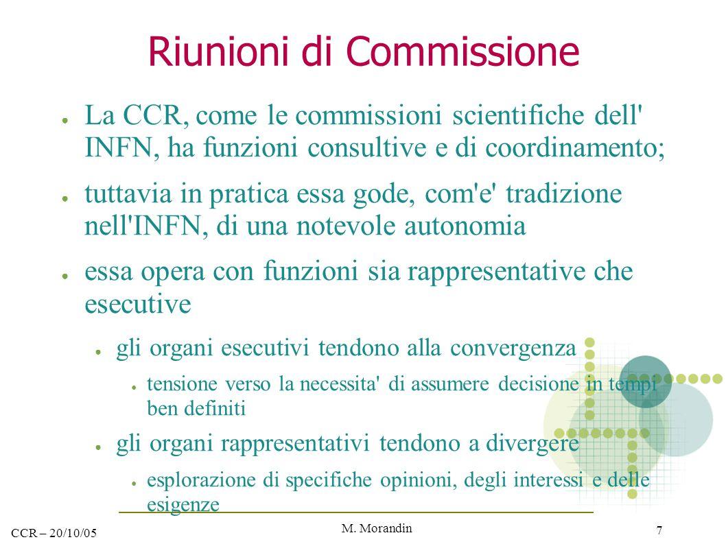 M. Morandin 7 CCR – 20/10/05 Riunioni di Commissione ● La CCR, come le commissioni scientifiche dell' INFN, ha funzioni consultive e di coordinamento;
