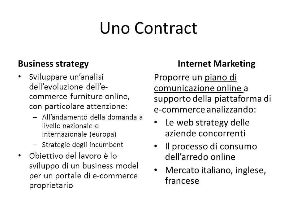 Uno Contract Business strategy Sviluppare un'analisi dell'evoluzione dell'e- commerce furniture online, con particolare attenzione: – All'andamento de