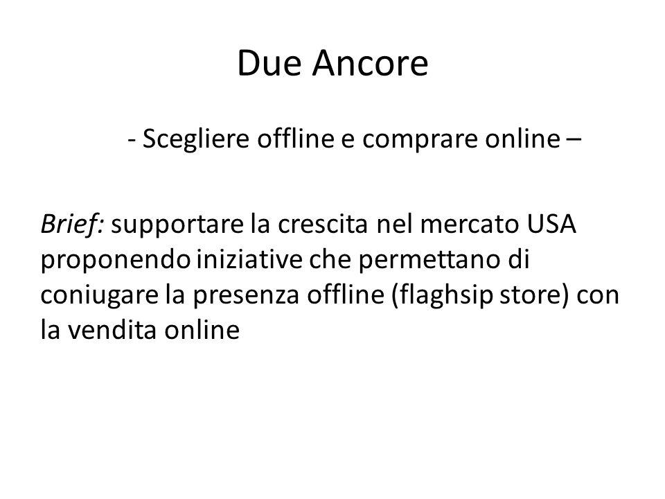 Due Ancore - Scegliere offline e comprare online – Brief: supportare la crescita nel mercato USA proponendo iniziative che permettano di coniugare la