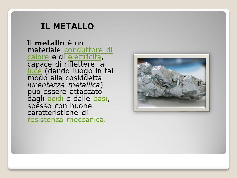 IL METALLO Il metallo è un materiale conduttore di calore e di elettricità, capace di riflettere la luce (dando luogo in tal modo alla cosiddetta luce