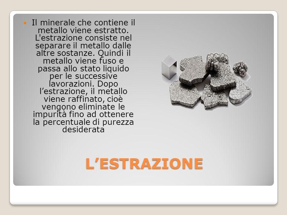 L'ESTRAZIONE Il minerale che contiene il metallo viene estratto. L'estrazione consiste nel separare il metallo dalle altre sostanze. Quindi il metallo